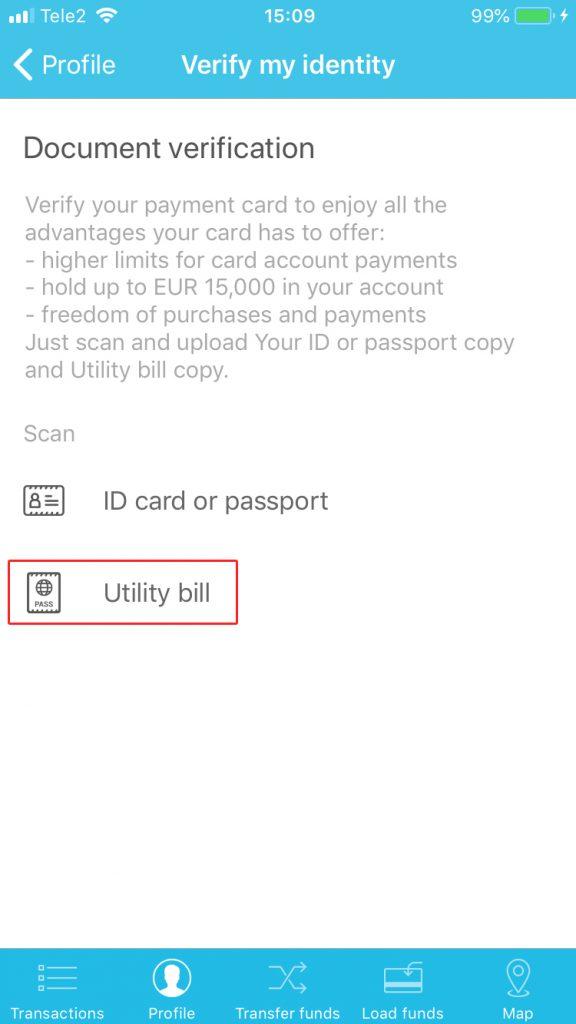 Uploading utility bill