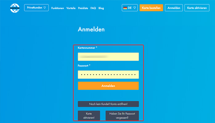 login screen DE