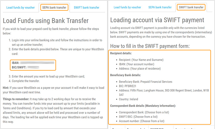 image of loading weststein prepaid card by sepa or swift payments - Load Prepaid Card Online