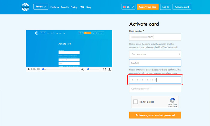 Weststein card activation: creating password