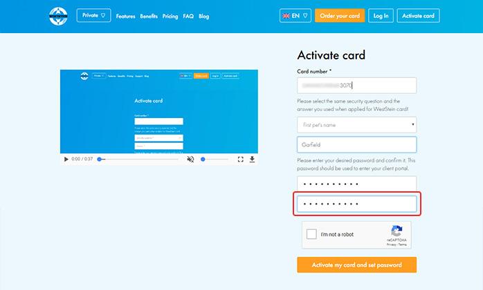 Weststein account creation - reentering password