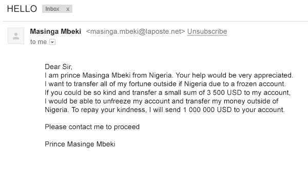 A picture of email from Nigerian prince
