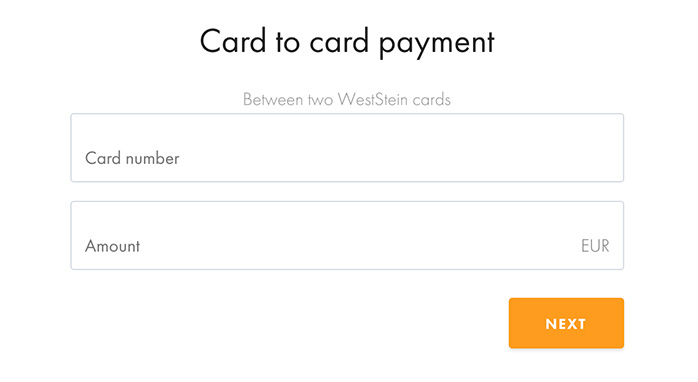 Image of card to card payment screen