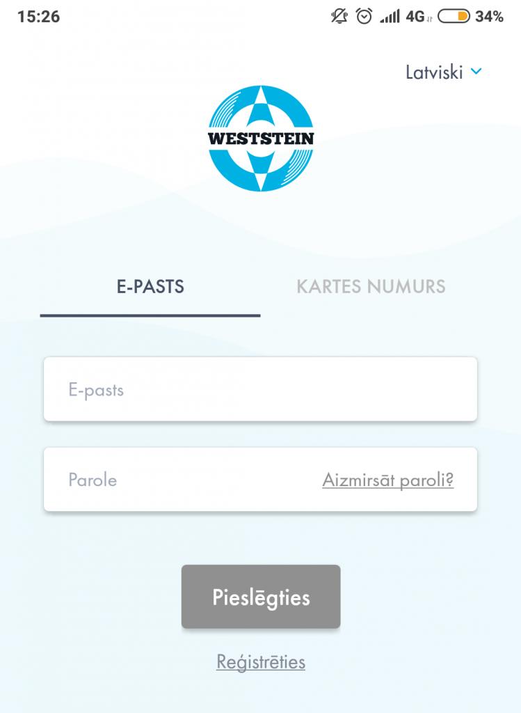 WestStein mobilā aplikācija pieslēgšanās