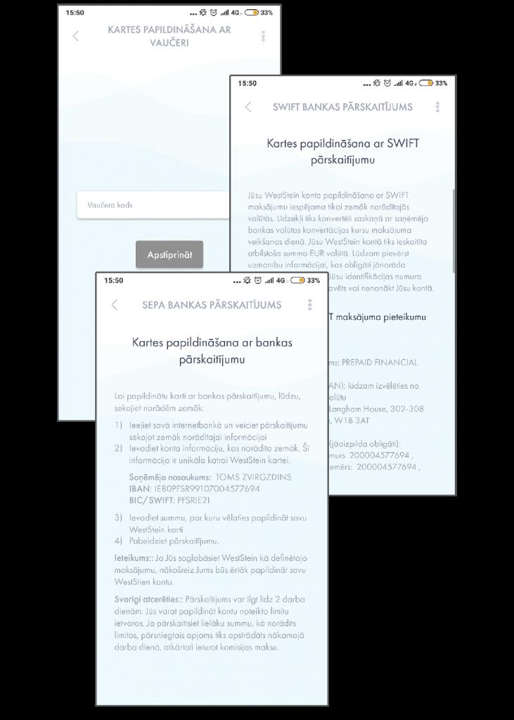 Papildinasas iespejas WestStein mobilaja aplikacija